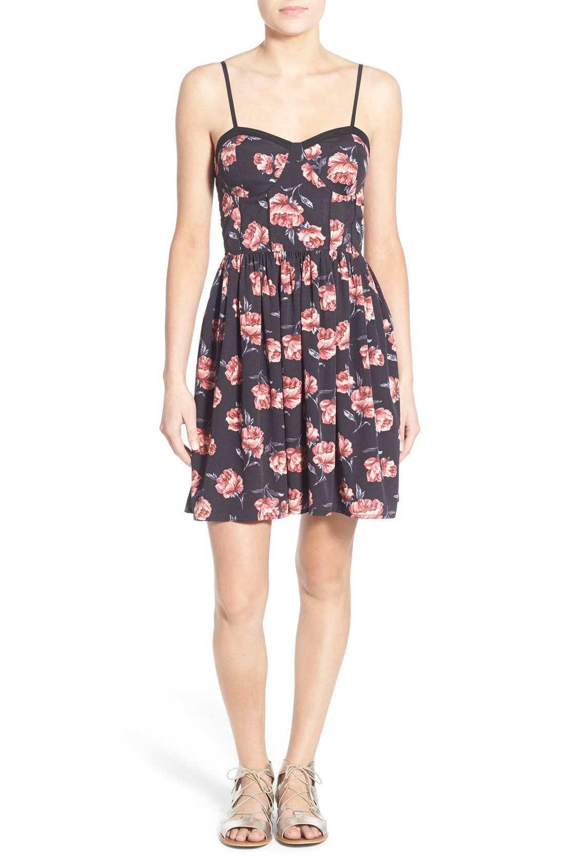 Alternate Image 1 Selected - Band of Gypsies Floral Print Skater Dress