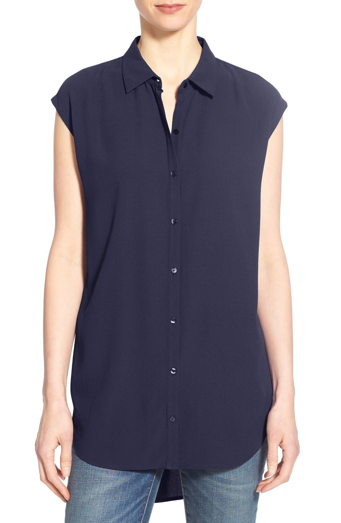 Alternate Image 1 Selected - Eileen Fisher Silk Georgette Classic Collar Tunic Shirt