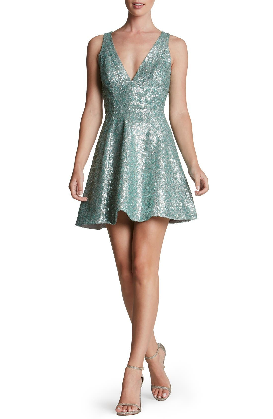 DRESS THE POPULATION 'Carrie' Sequin Fit & Flare