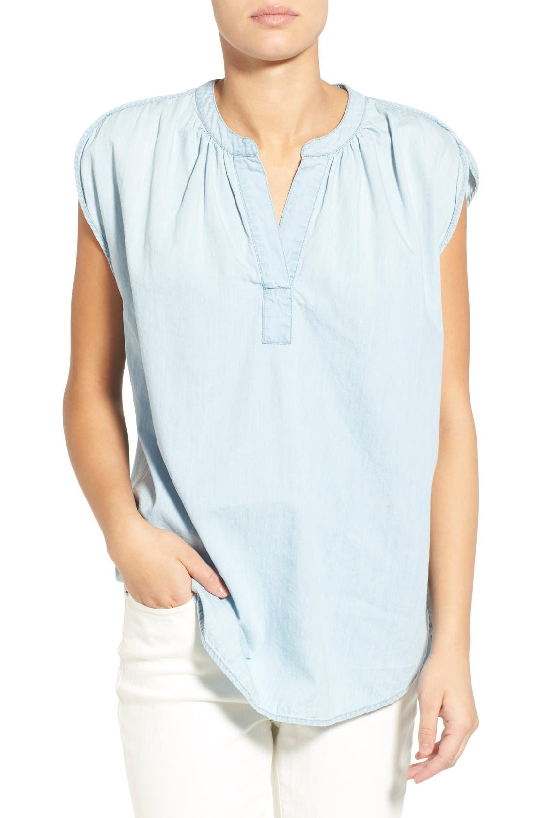 Alternate Image 1 Selected - Madewell 'Summer' Chambray Popover Top