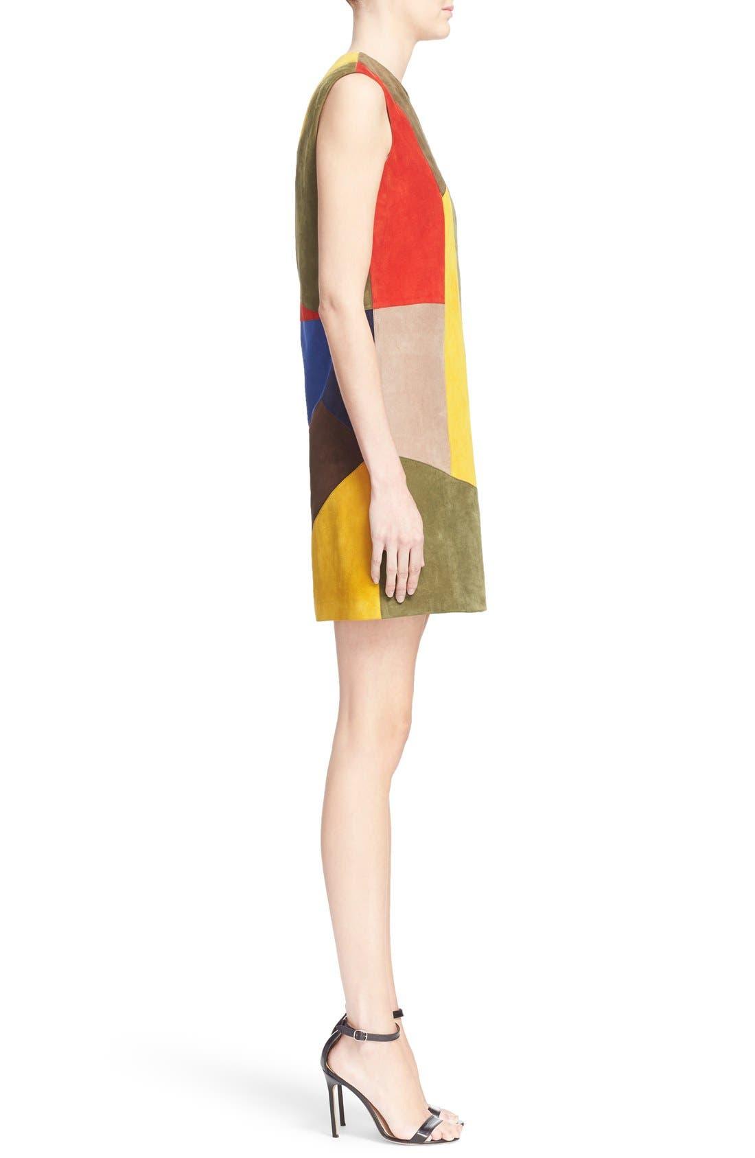 Alternate Image 5  - Victoria Beckham Patchwork Suede Shift Dress
