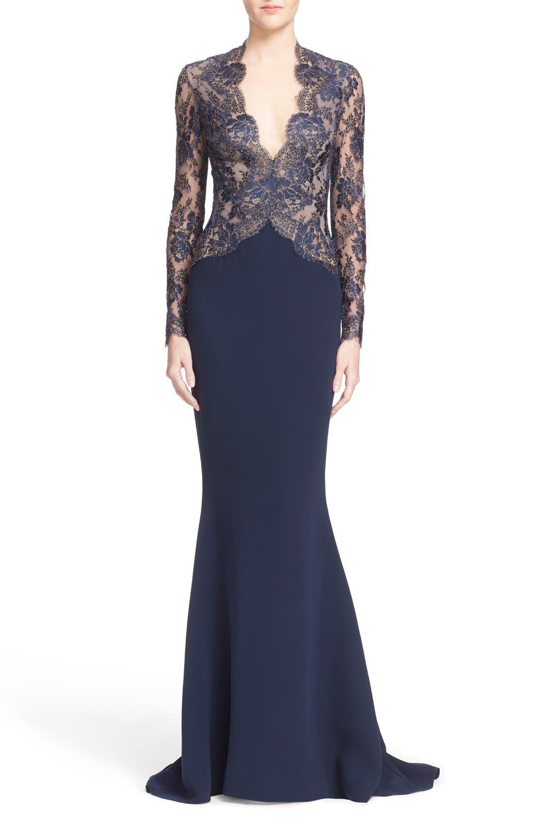 Main Image - Reem Acra V-Neck Lace & Silk Crepe Trumpet Gown