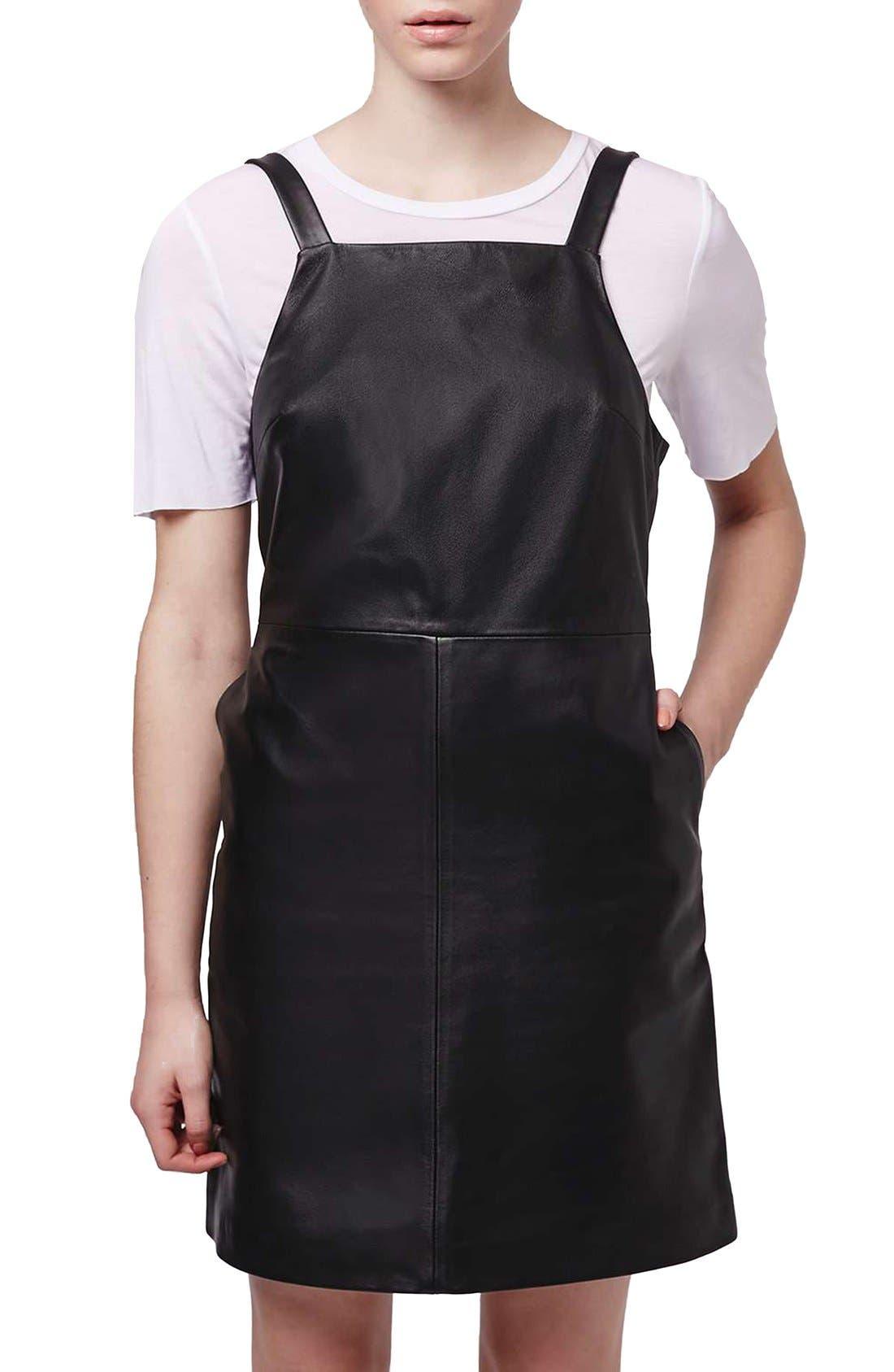 Alternate Image 3  - Topshop Boutique Leather Pinafore Dress