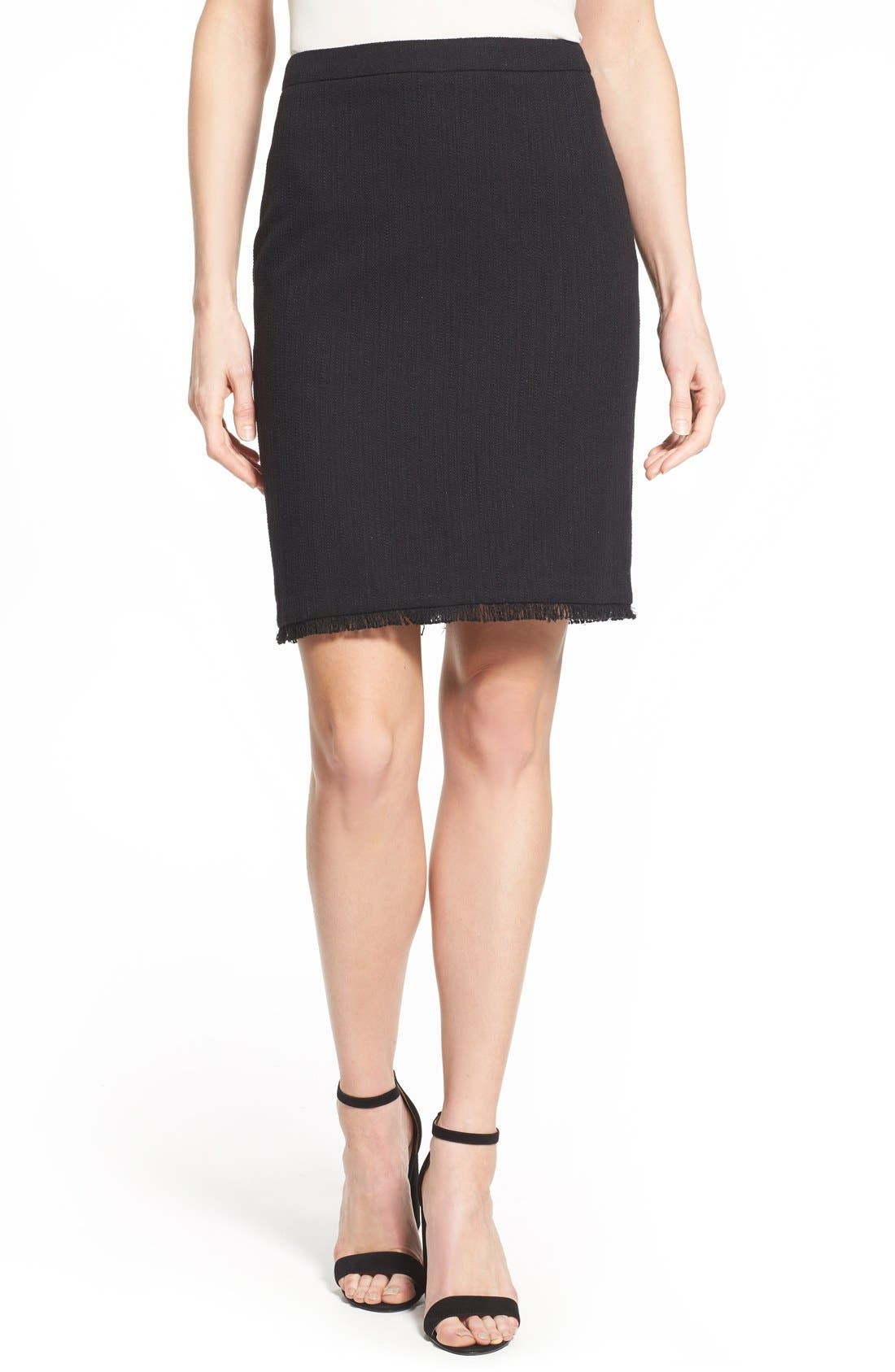 Main Image - Halogen® Novelty Tweed Pencil Skirt (Regular & Petite)