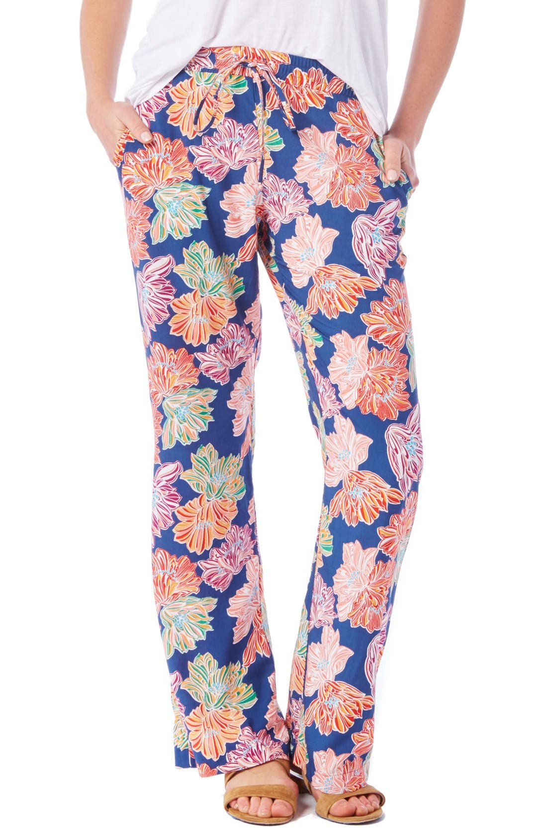 Alternate Image 1 Selected - Michael Stars Floral Print Wide Leg Drawstring Pants