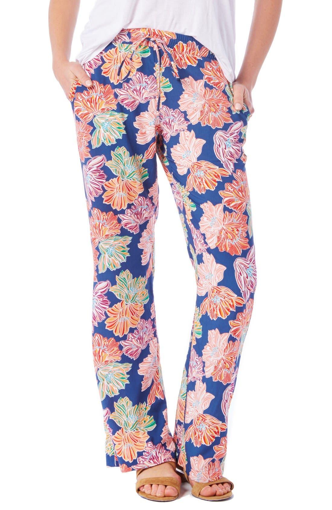 Main Image - Michael Stars Floral Print Wide Leg Drawstring Pants