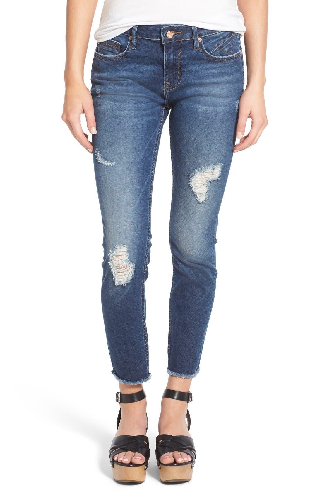 Main Image - Vigoss Distressed Raw Hem Skinny Jeans