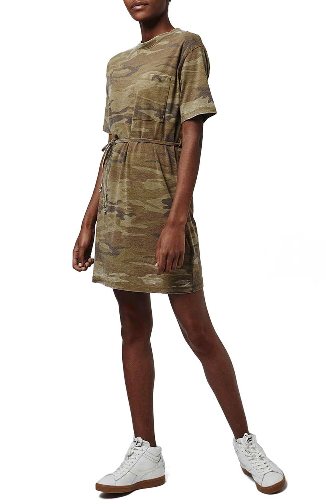 Main Image - Topshop Belted Camo Print T-Shirt Dress