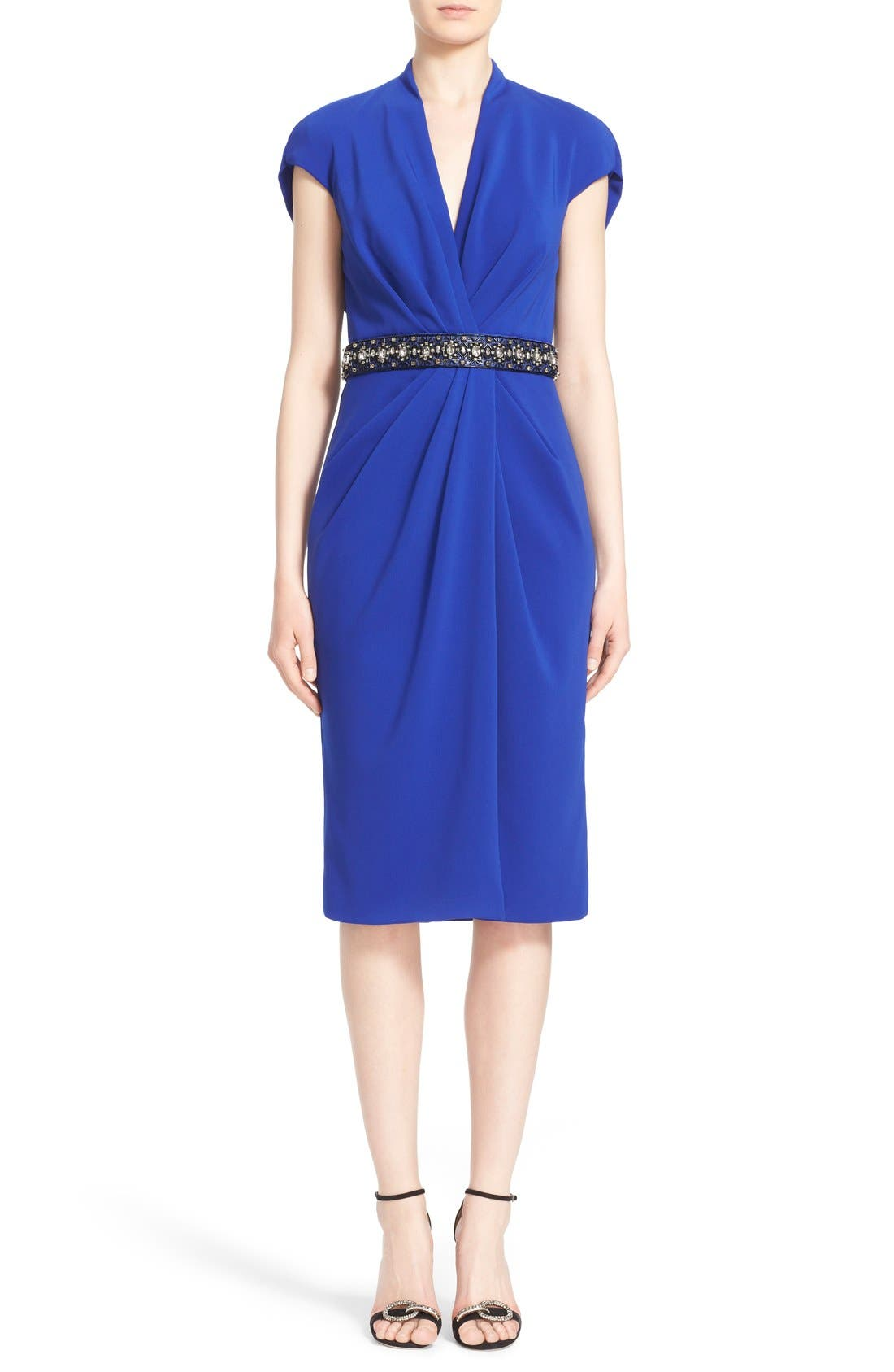 BADGLEY MISCHKA Couture Embellished Waist Drape Front Dress