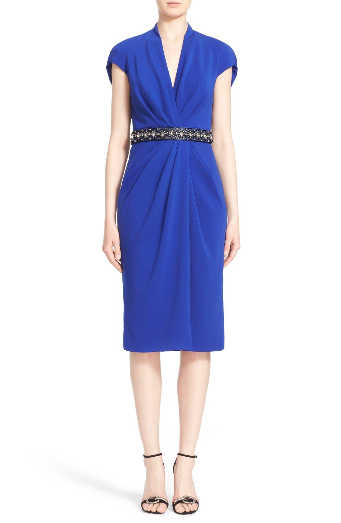 BADGLEY MISCHKA Couture Embellished Waist Drape Front Dress