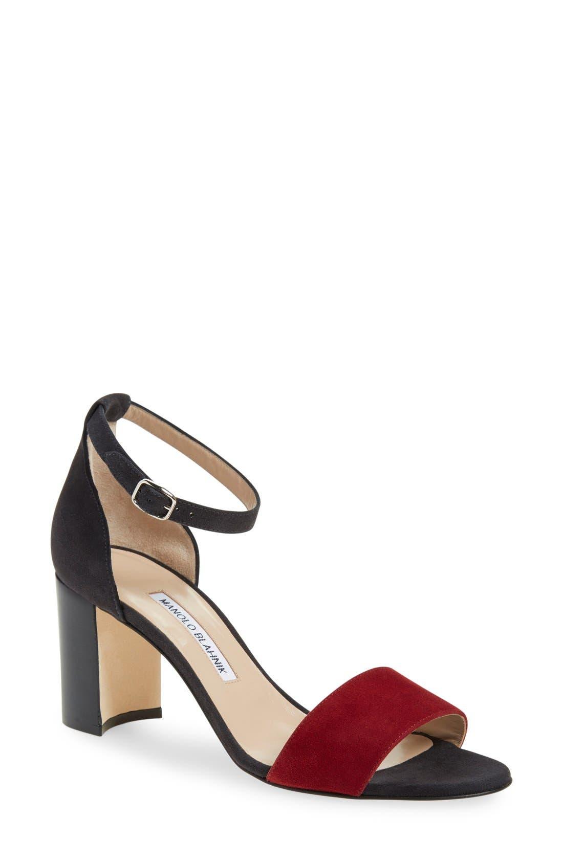Main Image - Manolo Blahnik 'Lauratomod' Ankle Strap Sandal (Women)