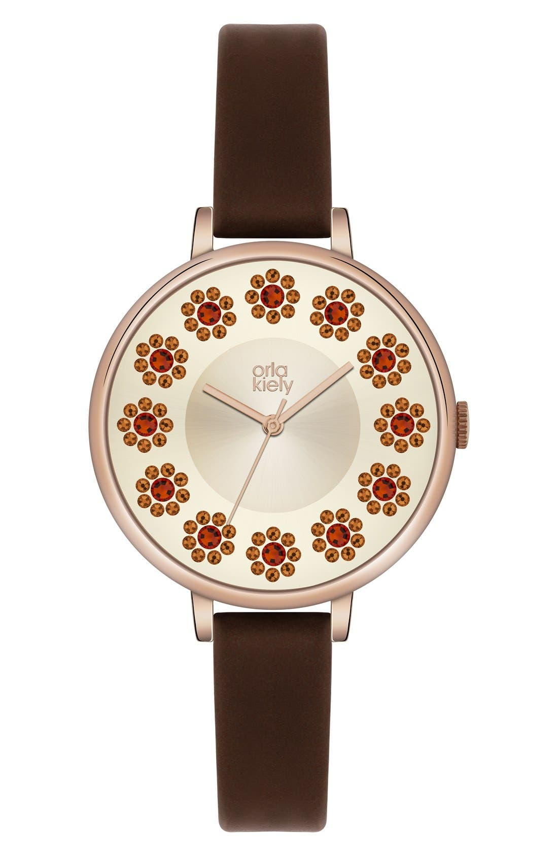 Alternate Image 1 Selected - Orla Kiely 'Ivy' Crystal Dial Leather Strap Watch, 40mm