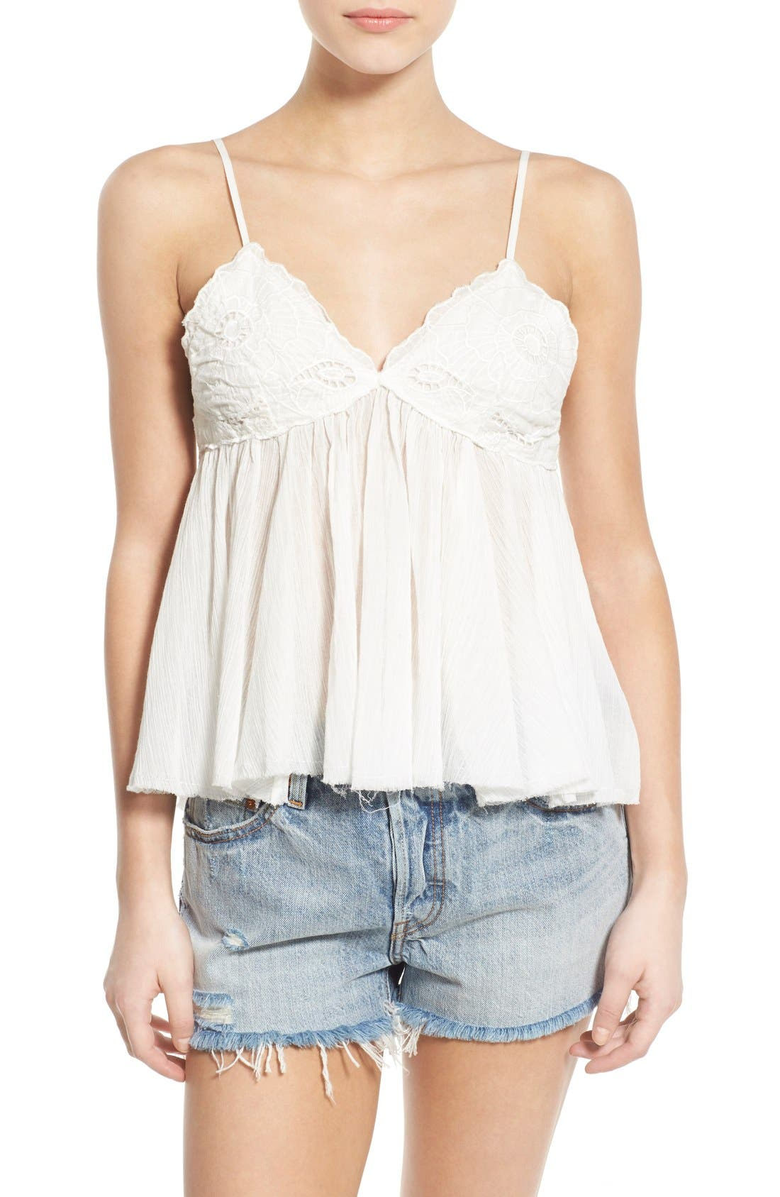 Alternate Image 1 Selected - BP. Embroidered Babydoll Tank