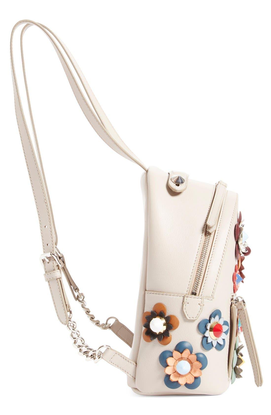 Alternate Image 4  - Fendi Floral Appliqué Leather Mini Backpack