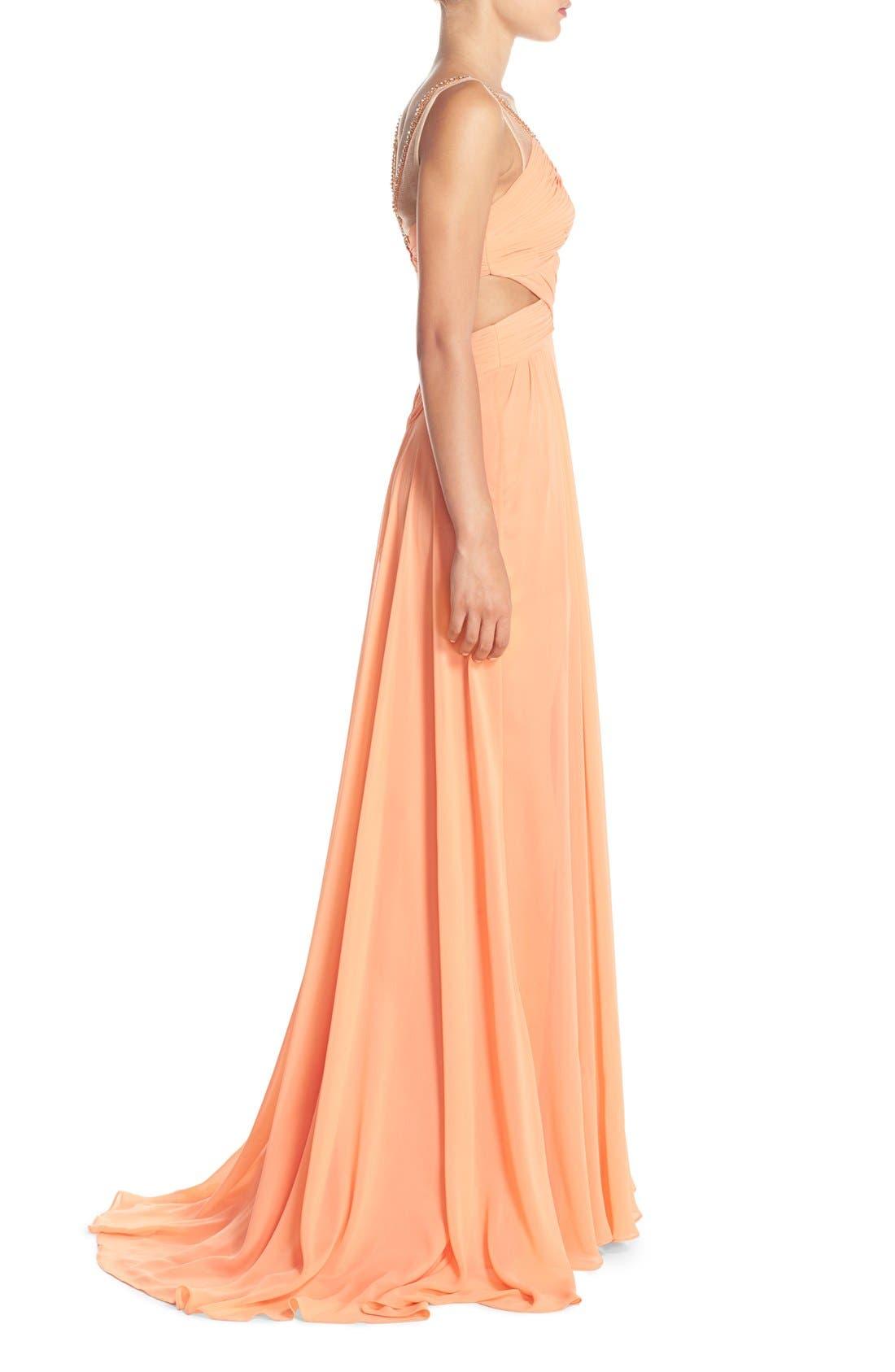 Alternate Image 3  - Terani Couture Cutout Embellished Chiffon Gown
