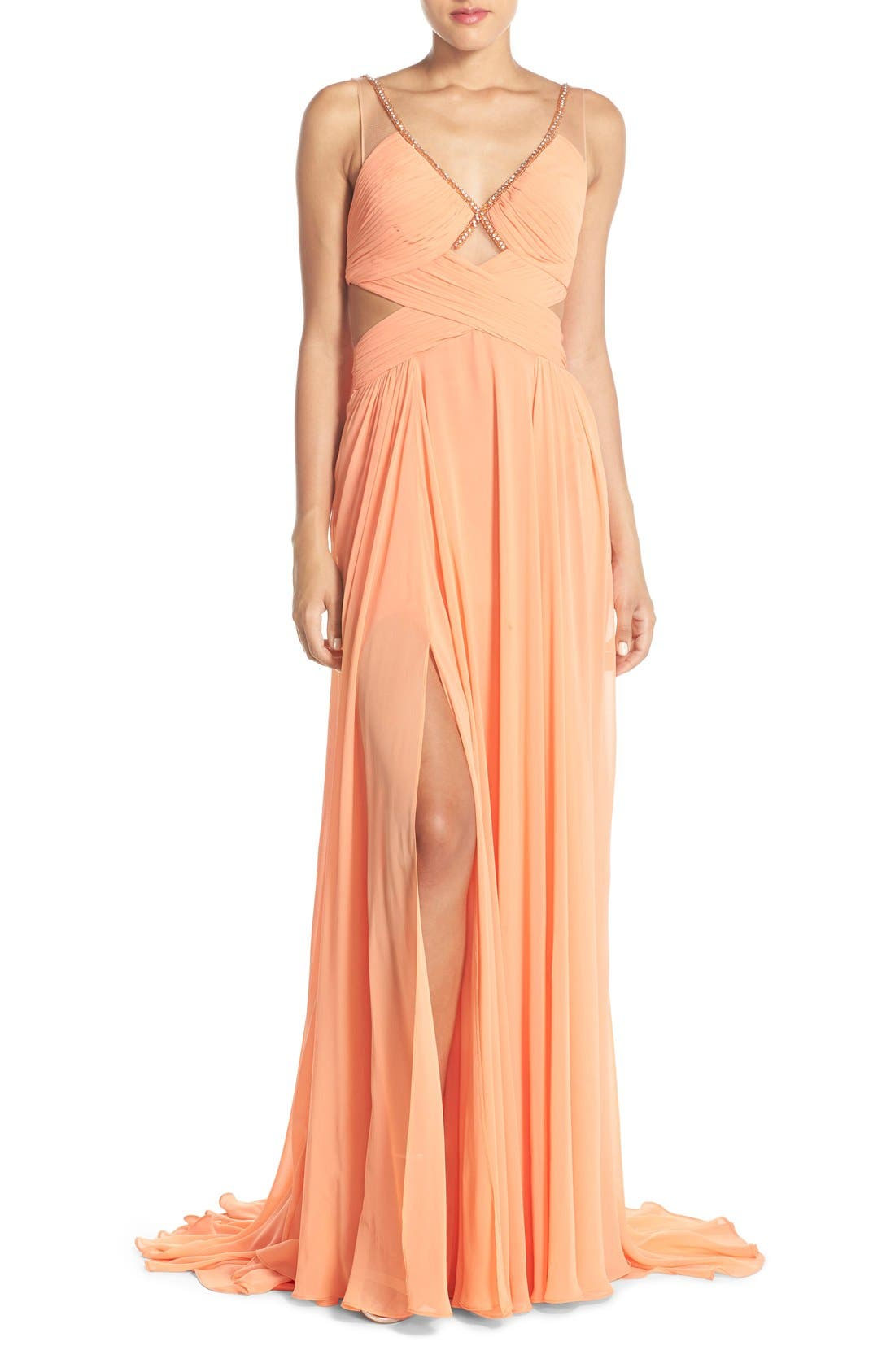 Alternate Image 1 Selected - Terani Couture Cutout Embellished Chiffon Gown