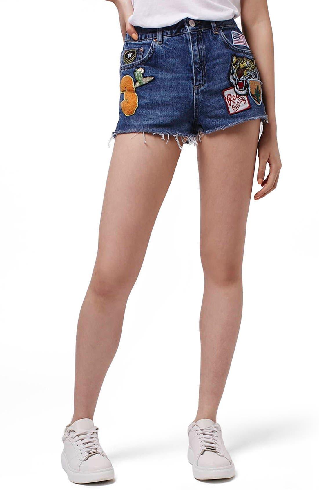 Alternate Image 1 Selected - Topshop Patch Raw Hem High Rise Jean Shorts (Petite)