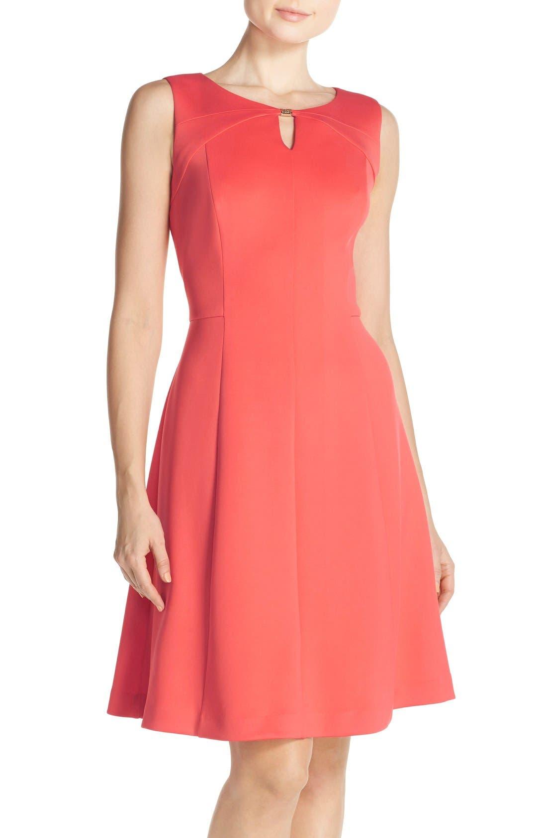 Main Image - Ellen Tracy Keyhole Front Scuba Fit & Flare Dress (Regular & Petite)