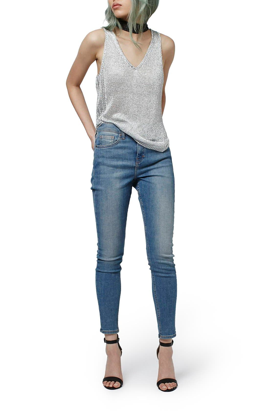 Alternate Image 2  - Topshop Deep V-Neck Metallic Tank (Petite)