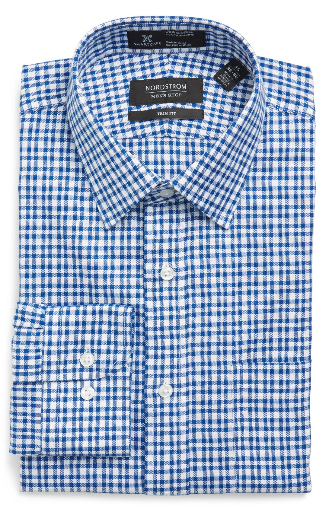 NORDSTROM MEN'S SHOP Smartcare™ Trim Fit Plaid Dress