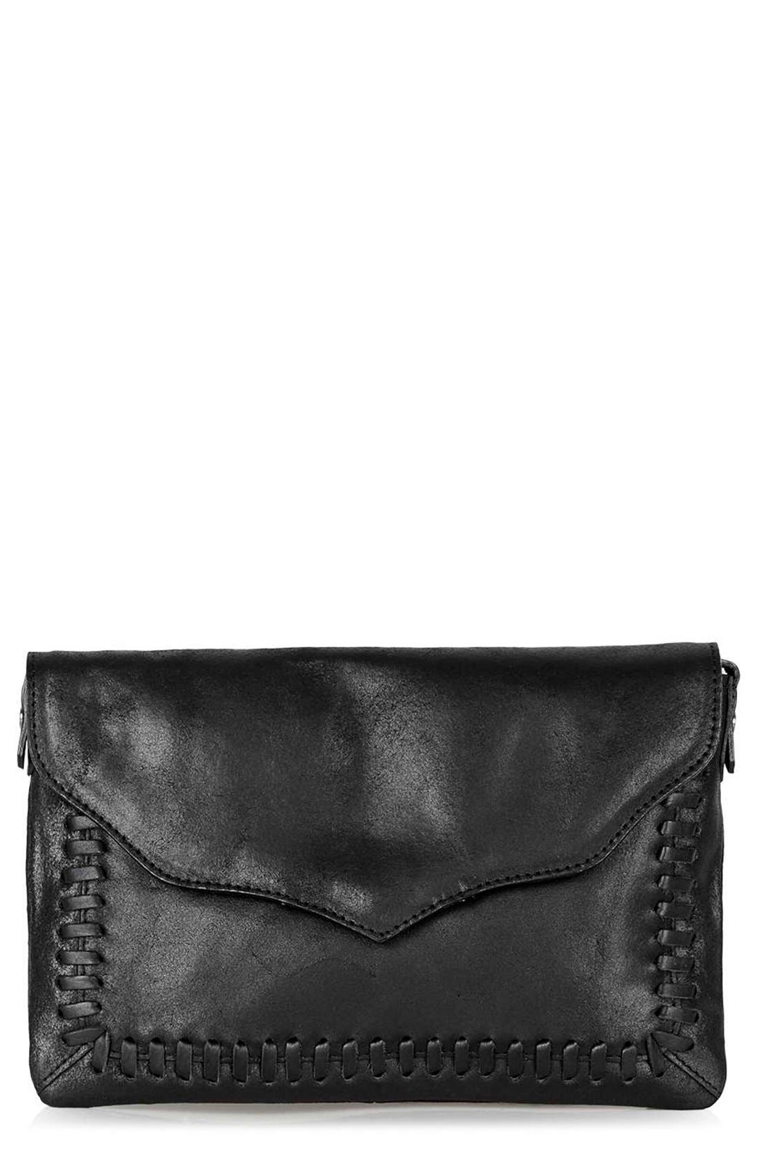 Main Image - Topshop Crackle Whipstitch Leather Crossbody Bag