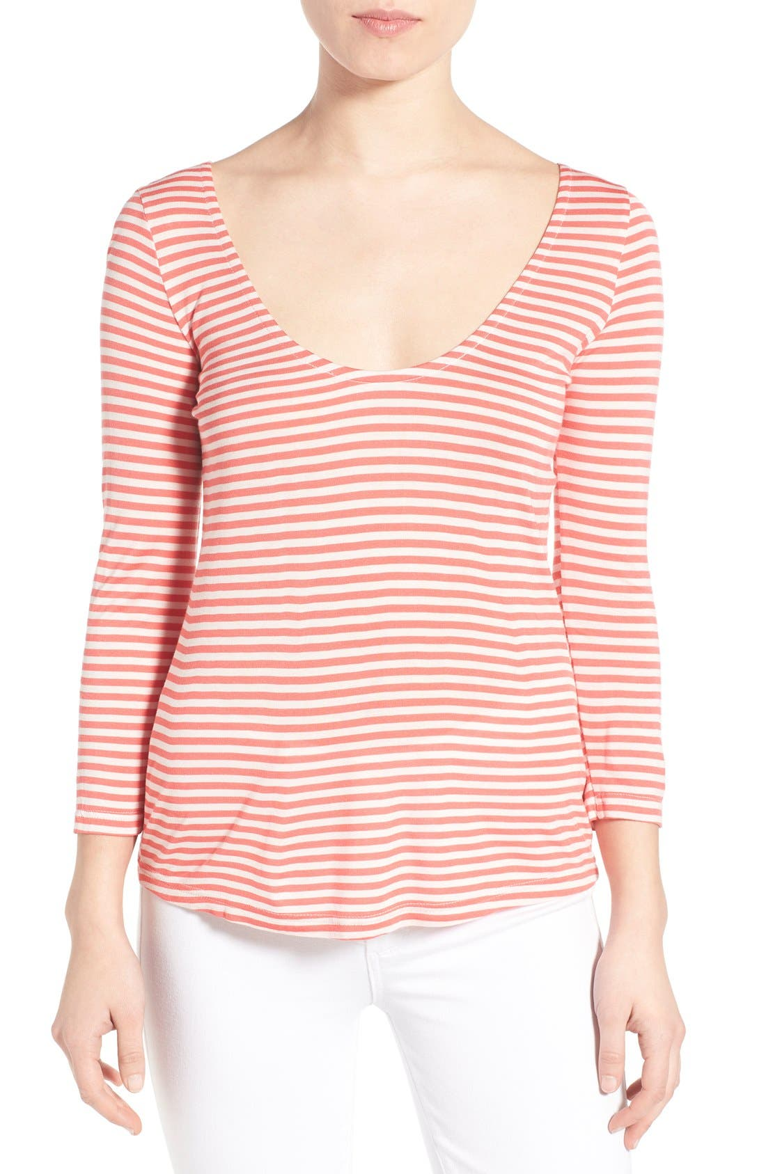 Alternate Image 1 Selected - cupcakes and cashmere 'Wink' Stripe Scoop Neck Top