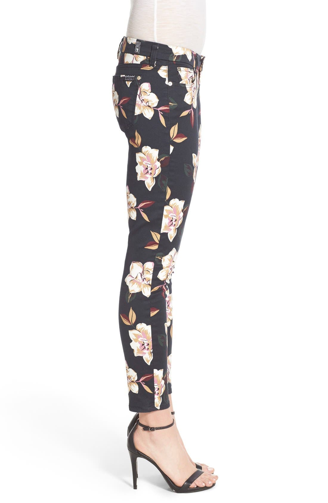 Alternate Image 3  - 7 For All Mankind® Print Ankle Skinny Jeans (Calypso Floral)