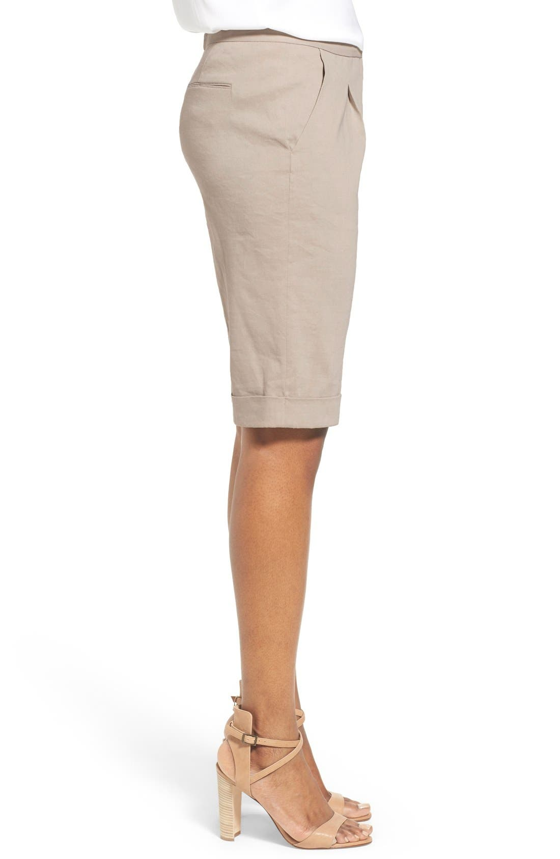 Alternate Image 3  - Elie Tahari 'City' Cuff Linen Blend Walking Shorts