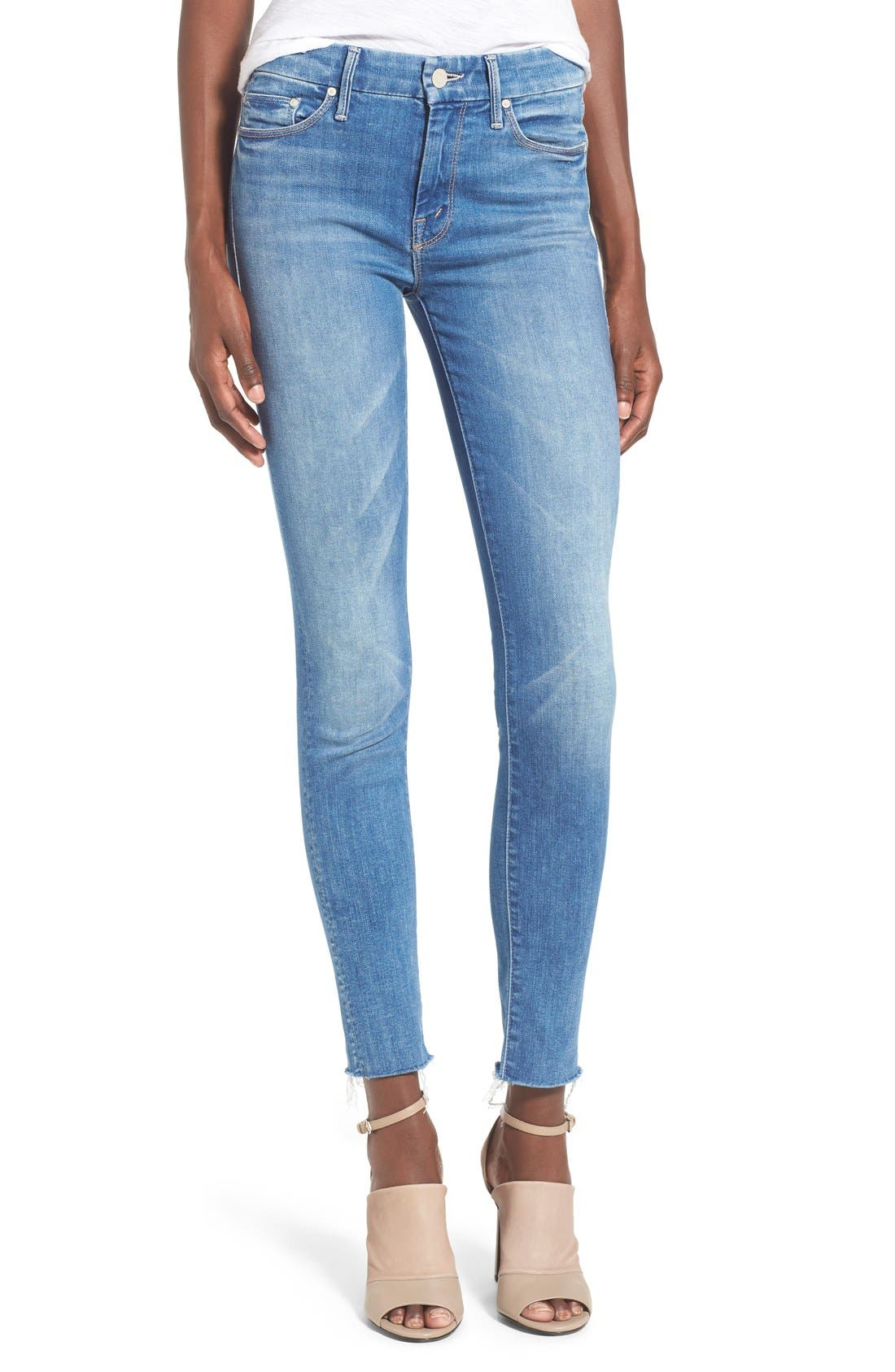 MOTHER 'The Looker' Fray Ankle Jeans (Birds of Paradise)