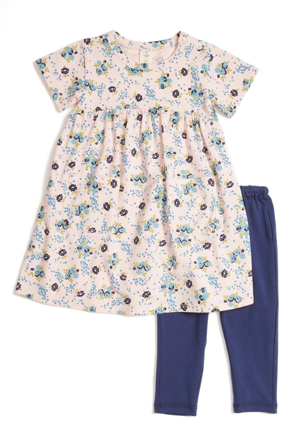 Alternate Image 1 Selected - Tucker + Tate Floral Print Dress & Leggings Set (Baby Girls)