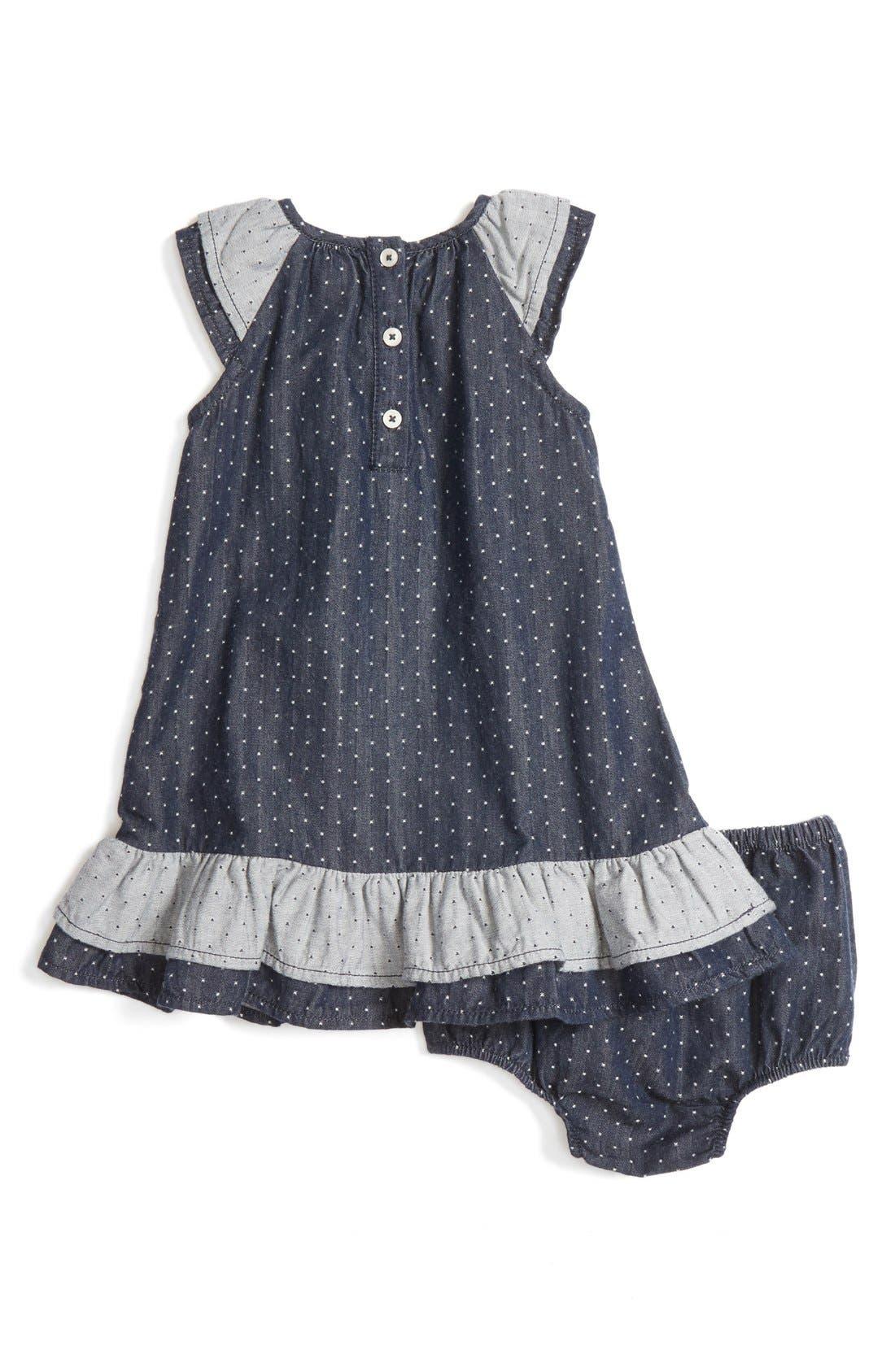 Alternate Image 2  - Tucker + Tate Dot Flutter Sleeve Chambray Dress (Baby Girls)