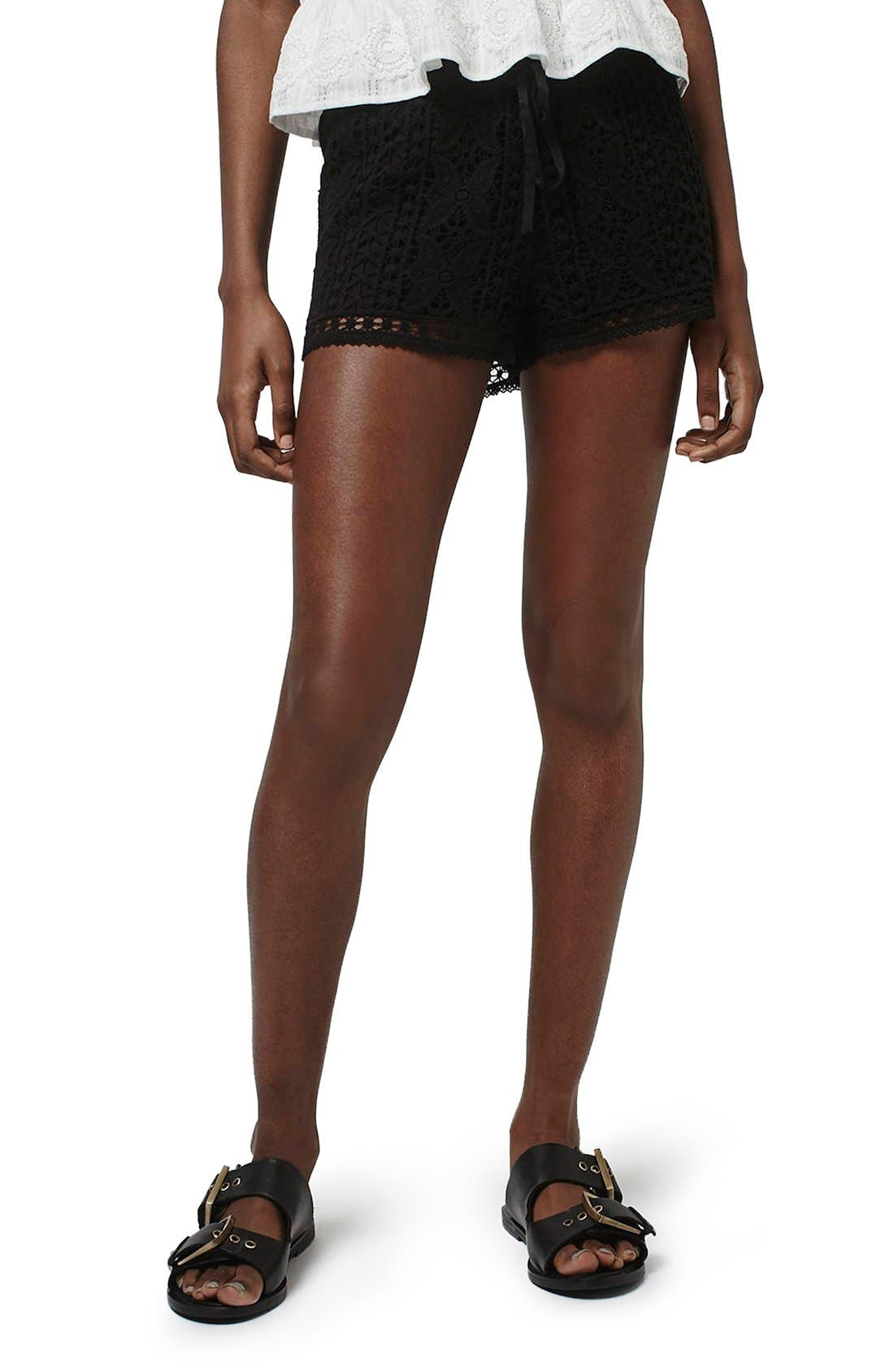 Topshop Floral Crochet Shorts (Regular & Petite)