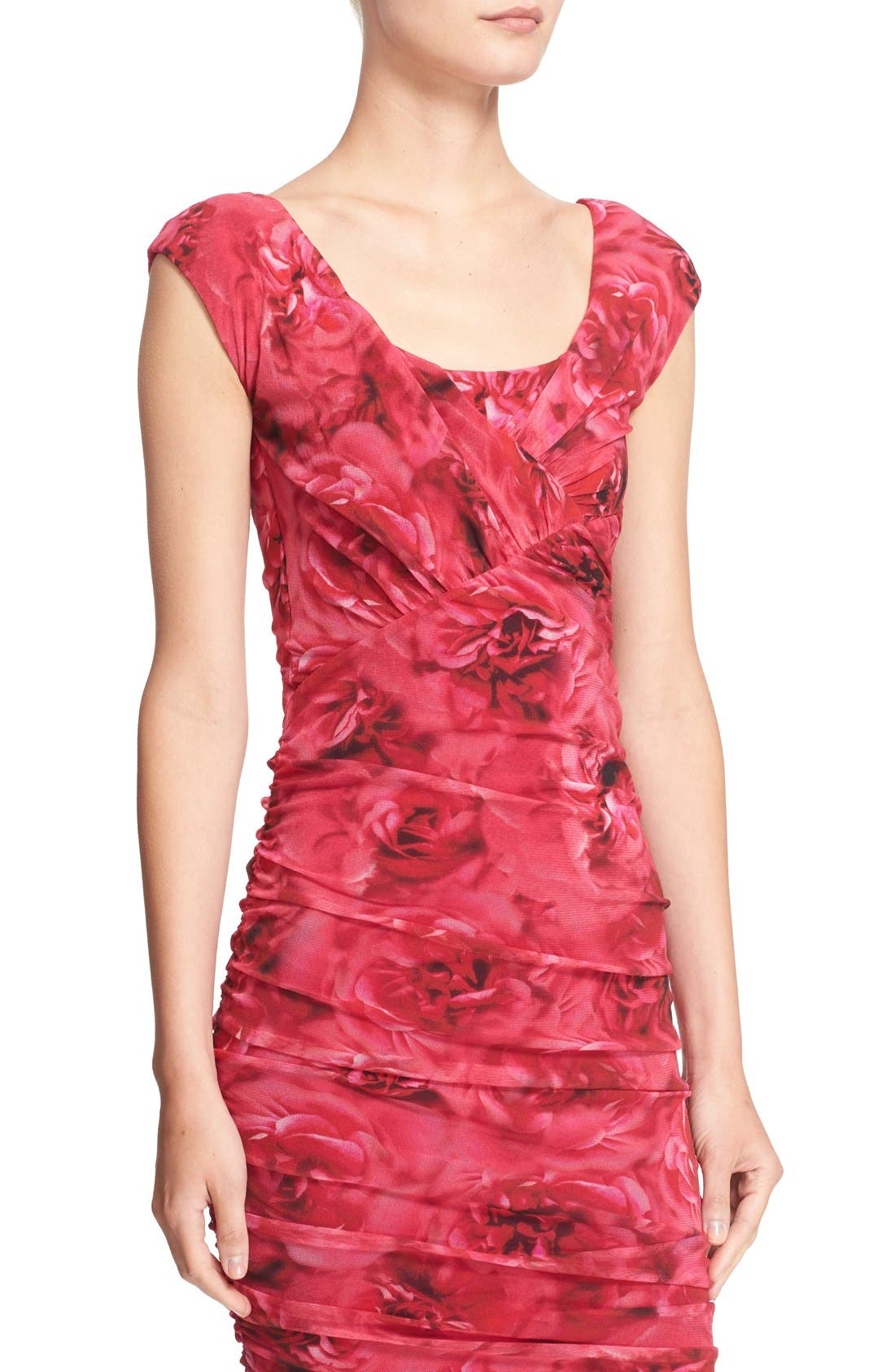 Alternate Image 5  - Fuzzi Rose Print Ruched Tulle Dress