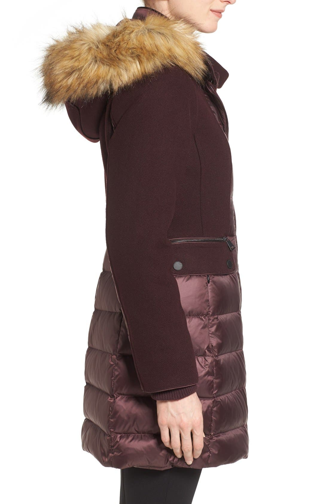 Alternate Image 3  - 1 Madison Mixed Media Faux Fur Trim Hooded Down Coat