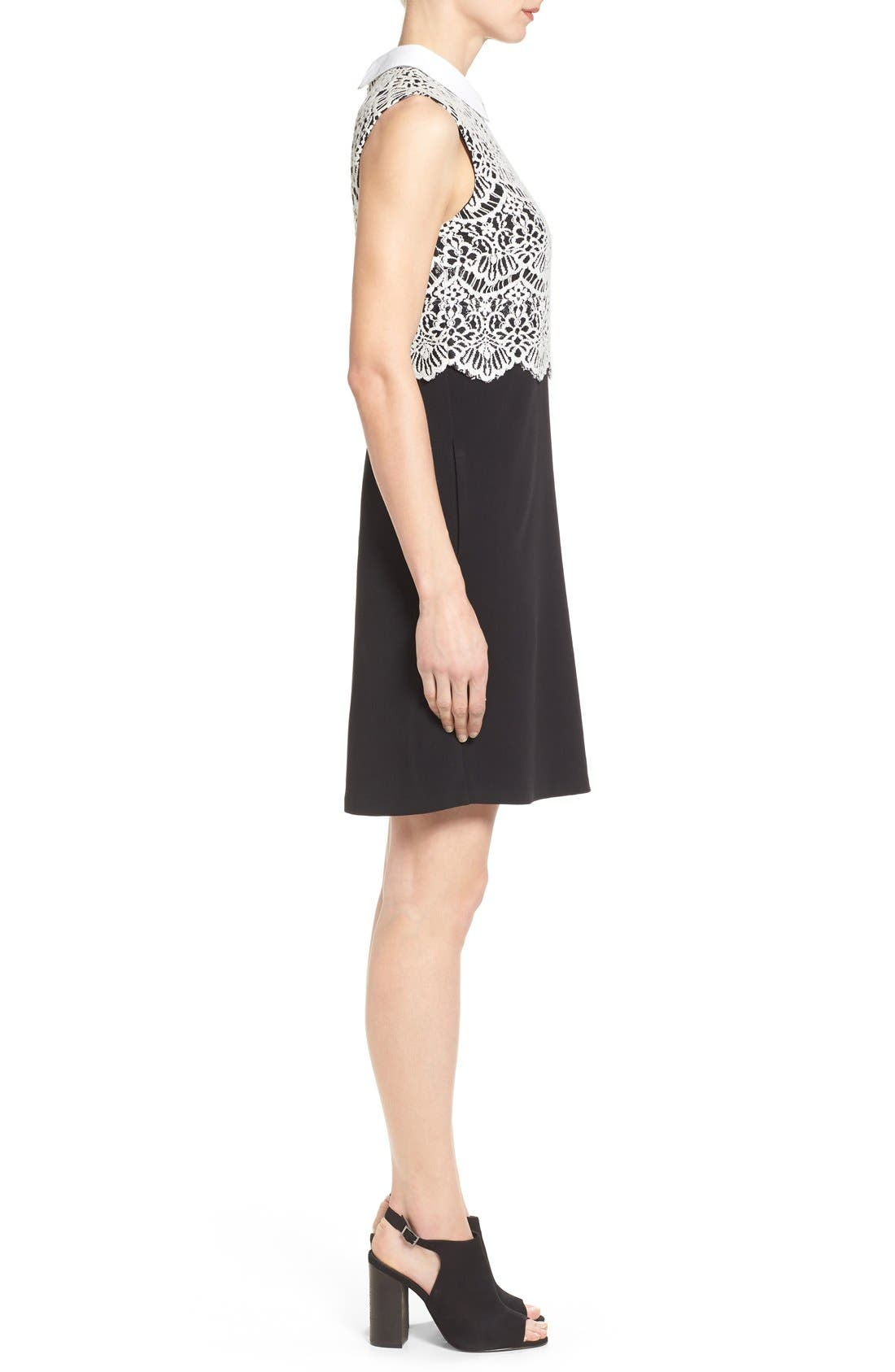 Alternate Image 3  - Halogen® Collared Lace Sheath Dress (Regular & Petite)