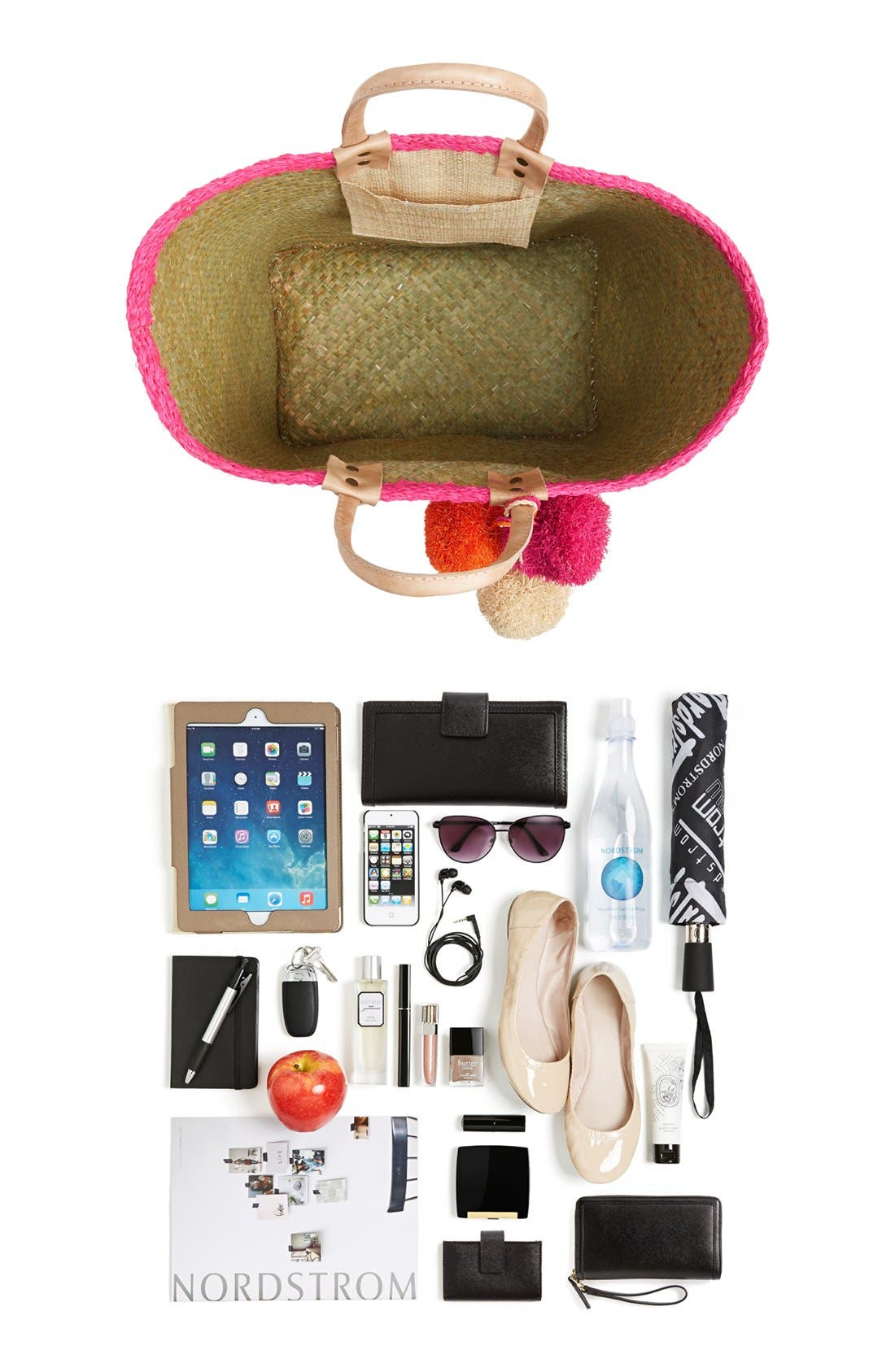 Alternate Image 7  - Mar y Sol 'Capri' Woven Tote with Pom Charms