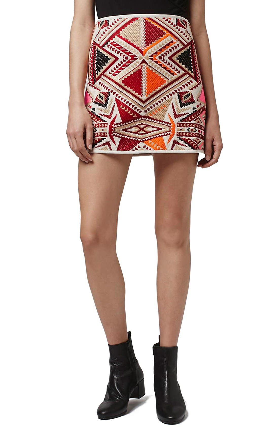 Alternate Image 1 Selected - Topshop 'Desert Traveller' Jacquard Miniskirt