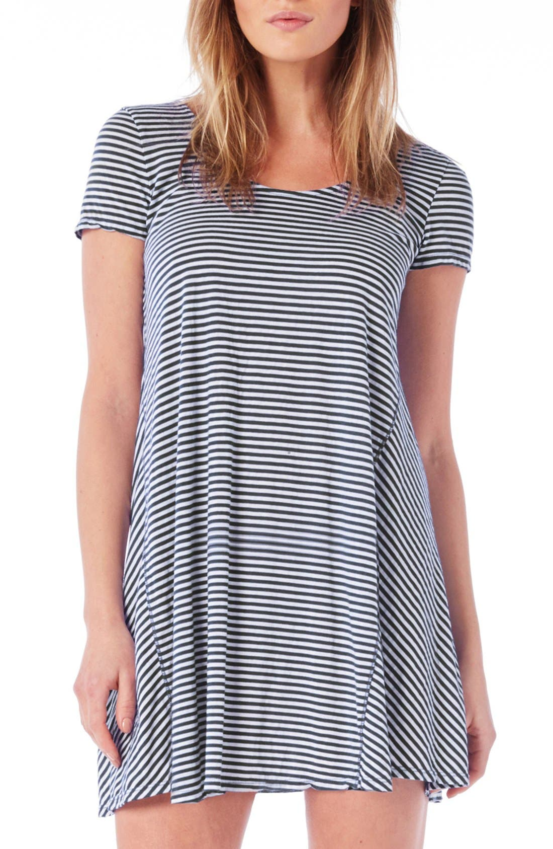 Alternate Image 1 Selected - Michael Stars Stripe Jersey A-Line Minidress