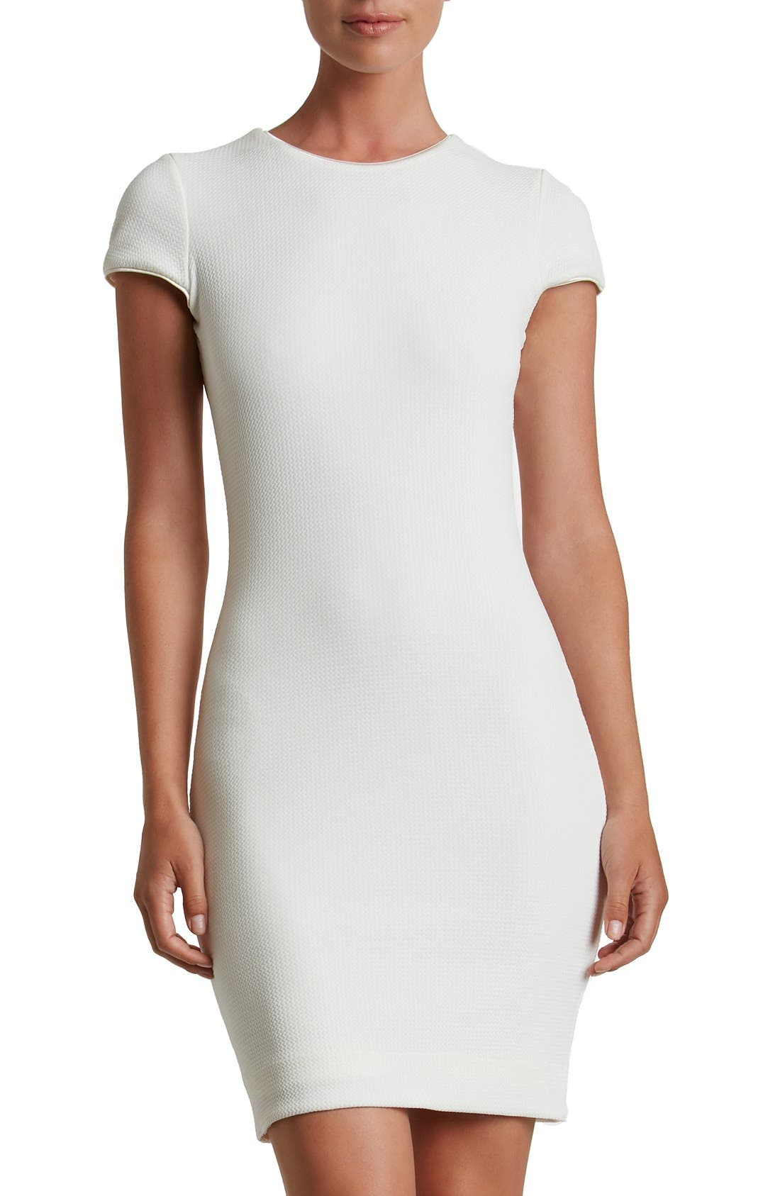 DRESS THE POPULATION 'Josie' Textured Knit Body-Con Dress