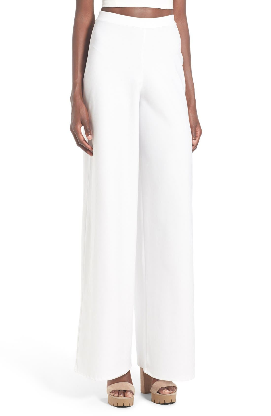 Alternate Image 1 Selected - Missguided Wide Leg Crepe Trousers