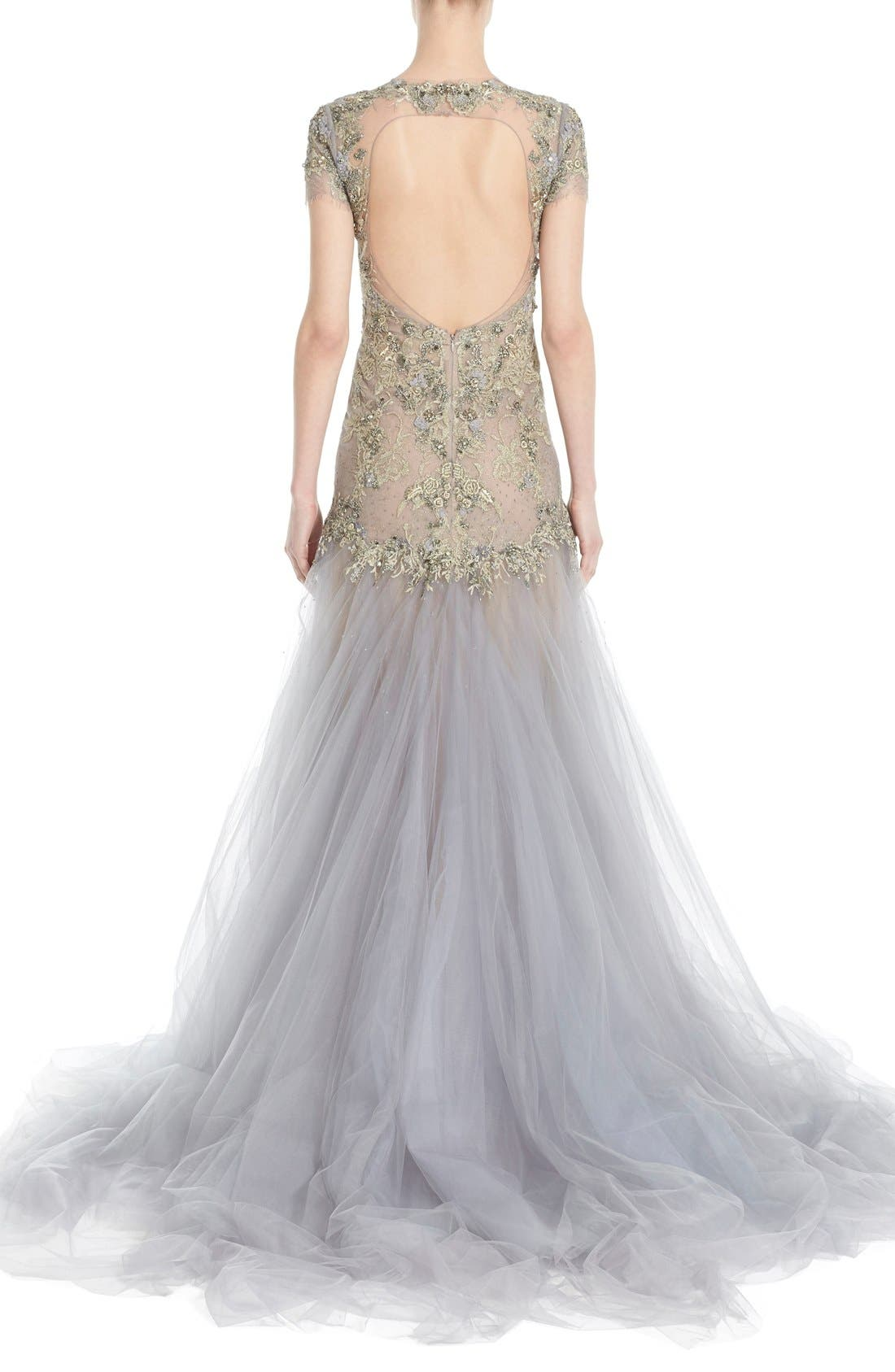 Alternate Image 3  - Marchesa Embroidered Lace & Tulle A-Line Gown