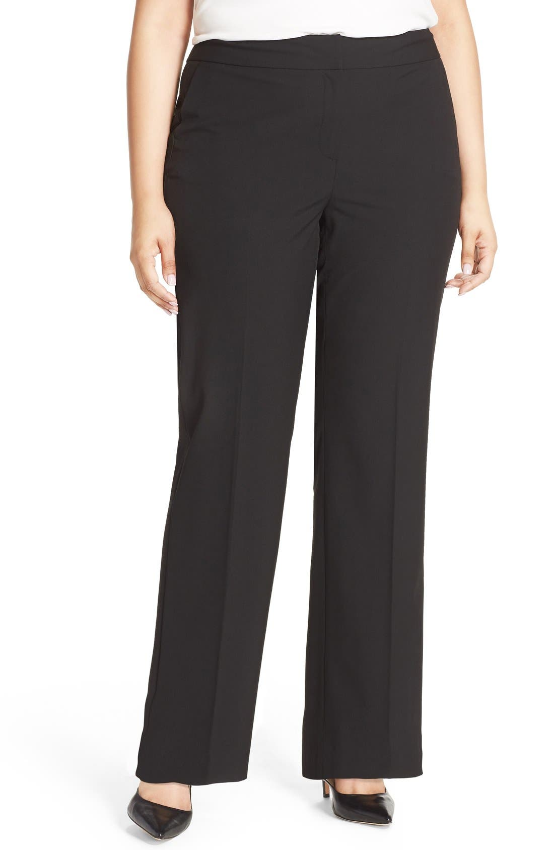 Sejour 'Ela' Stretch Curvy Fit Wide Leg Suit Pants (Plus Size & Petite Plus)