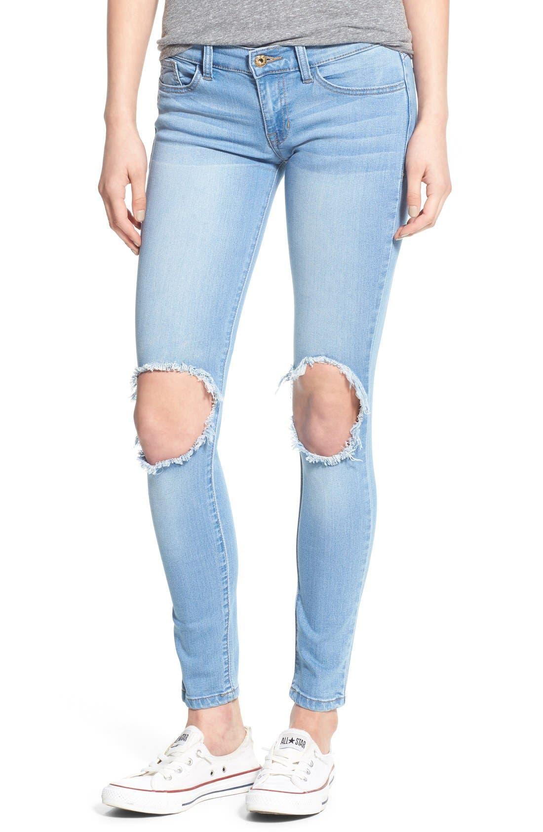 Alternate Image 1 Selected - SP Black Destroyed Skinny Jeans