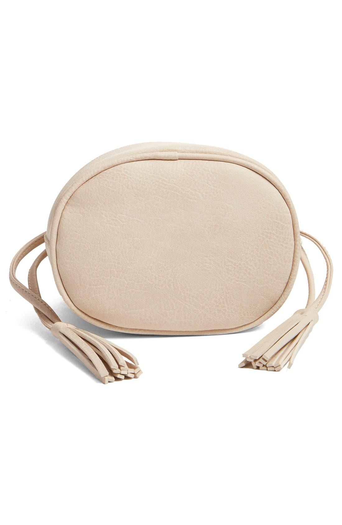 Alternate Image 6  - Street Level Mini Faux Leather Tassel Bucket Bag