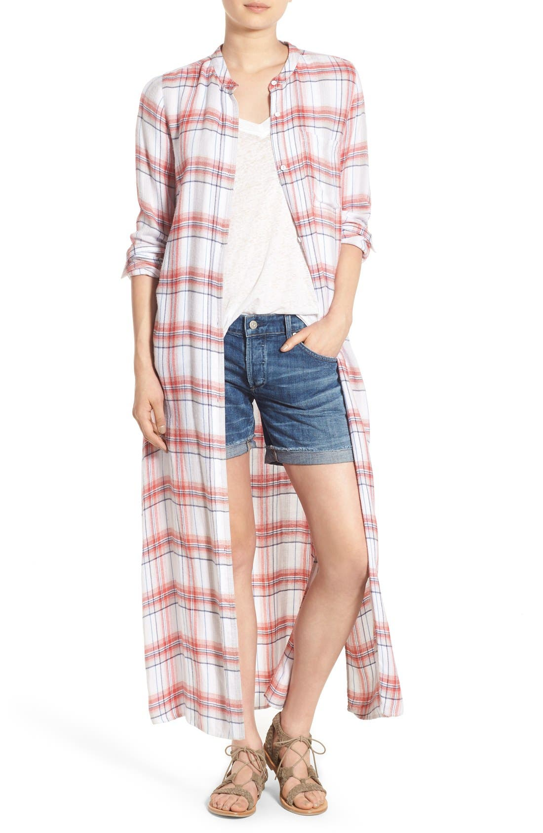 Main Image - Treasure&Bond Drapey Plaid Duster