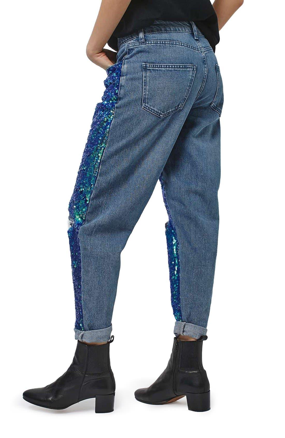 Alternate Image 3  - Topshop Mermaid Sequin Boyfriend Jeans