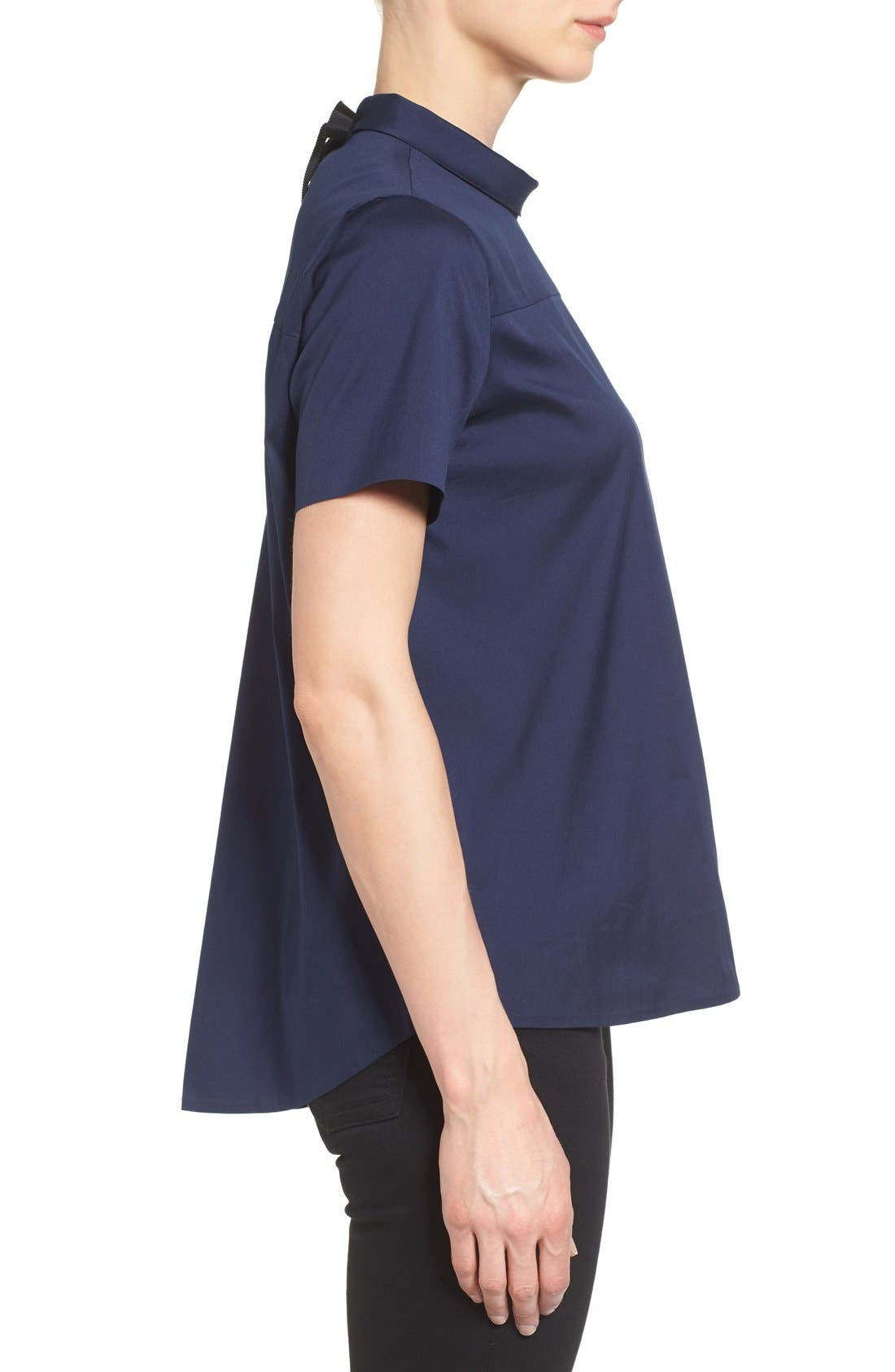 Alternate Image 3  - Halogen® Tie Back Short Sleeve Poplin Blouse (Regular & Petite)