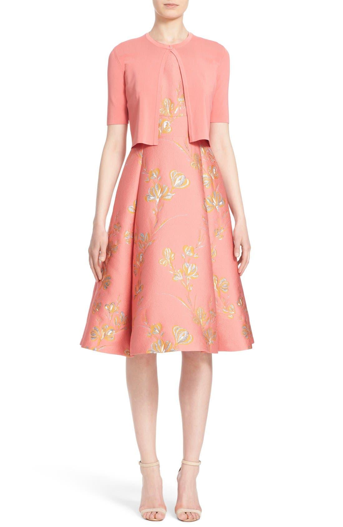 Alternate Image 7  - Lela Rose Vine Jacquard Fit & Flare Dress
