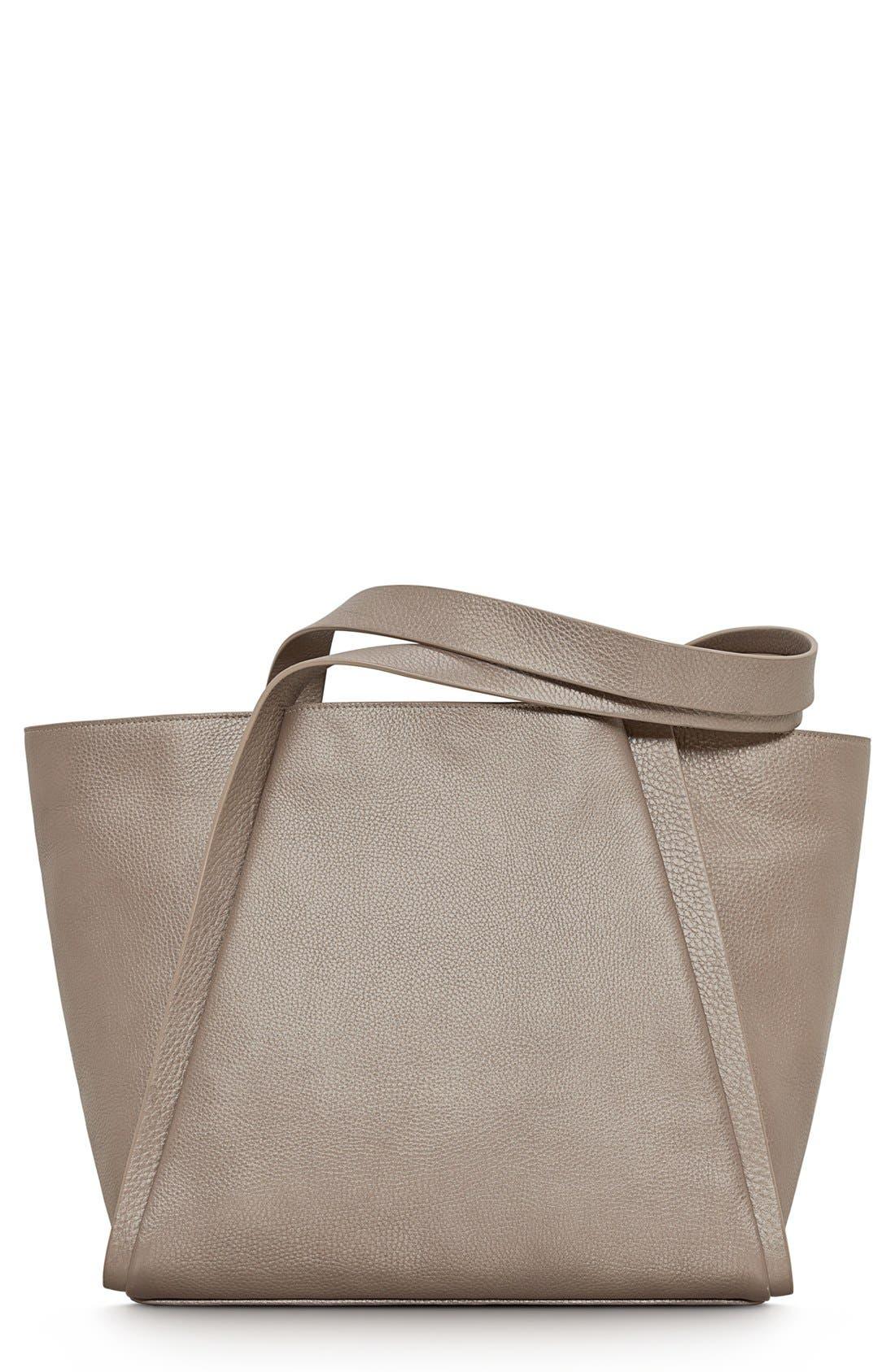 Alternate Image 1 Selected - Akris 'Medium Alex' Metallic Leather Shopper