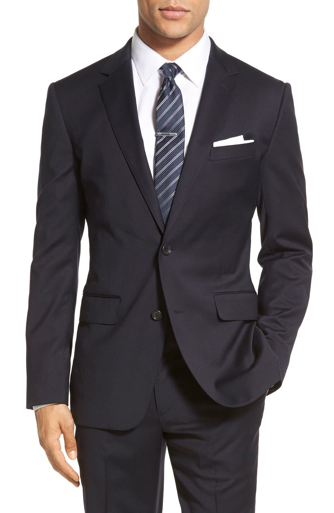 Bonobos Jetsetter Trim Fit Solid Stretch Wool Sport Coat